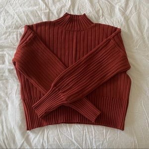 Burnt Orange Cropped Short-Turtleneck Sweater